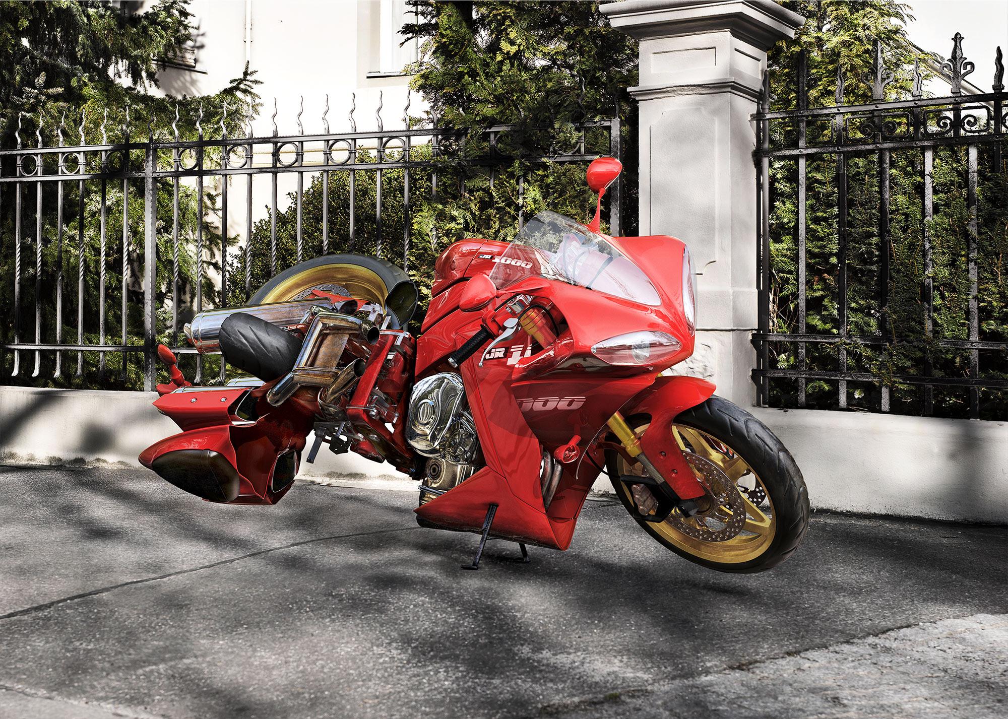 CGI Rendering 3d Transportation Bikeking24 Racer verdreht Motorrad twisted bikes HDRI Backplate Sphere Idris Kolodziej