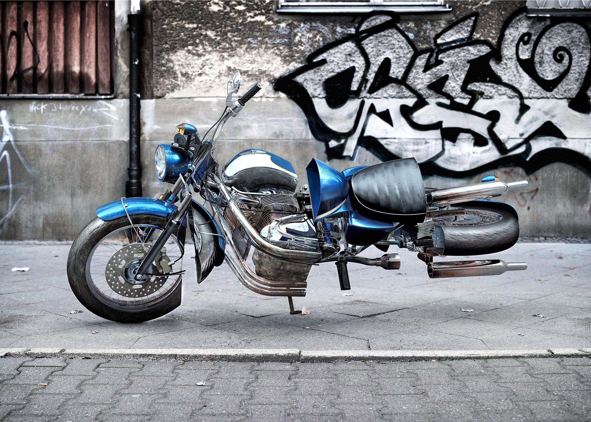 CGI Rendering 3d Transportation Bikeking24 Classic verdreht Motorrad twisted bikes HDRI Backplate Sphere Idris Kolodziej