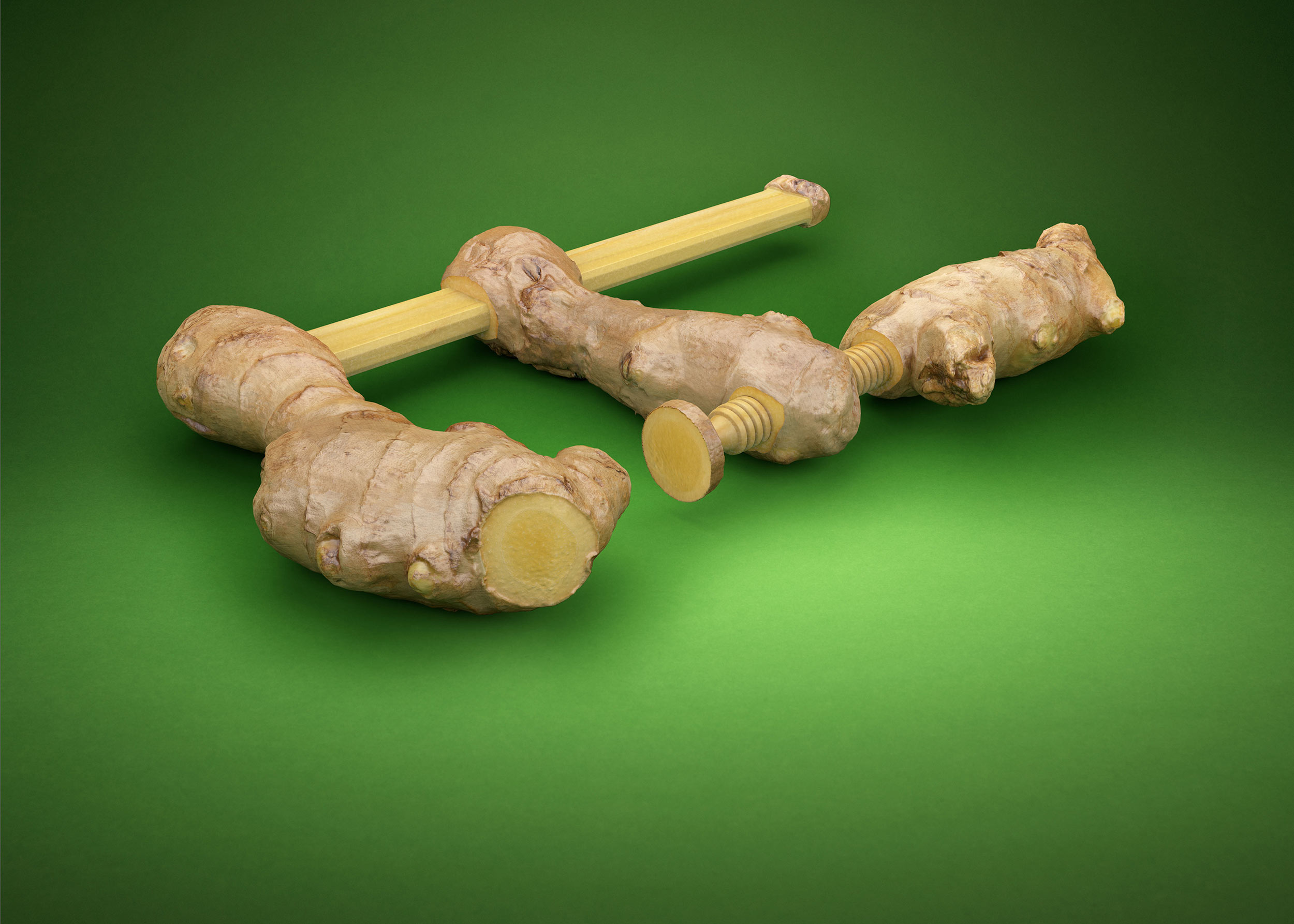 CGI Rendering 3d DK-Küchen Wir kochen Sie bauen food carving Werkzeug Transformation Ingwer Schraubzwinge Idris Kolodziej