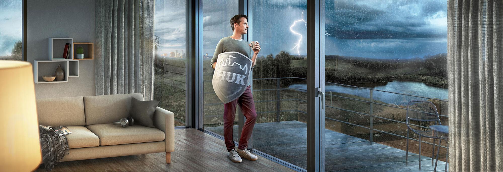 CGI Rendering 3d HUK Versicherung Landschaft Landscape Interior Apartment Unwetter Gewitter Regen Blitz Idris Kolodziej