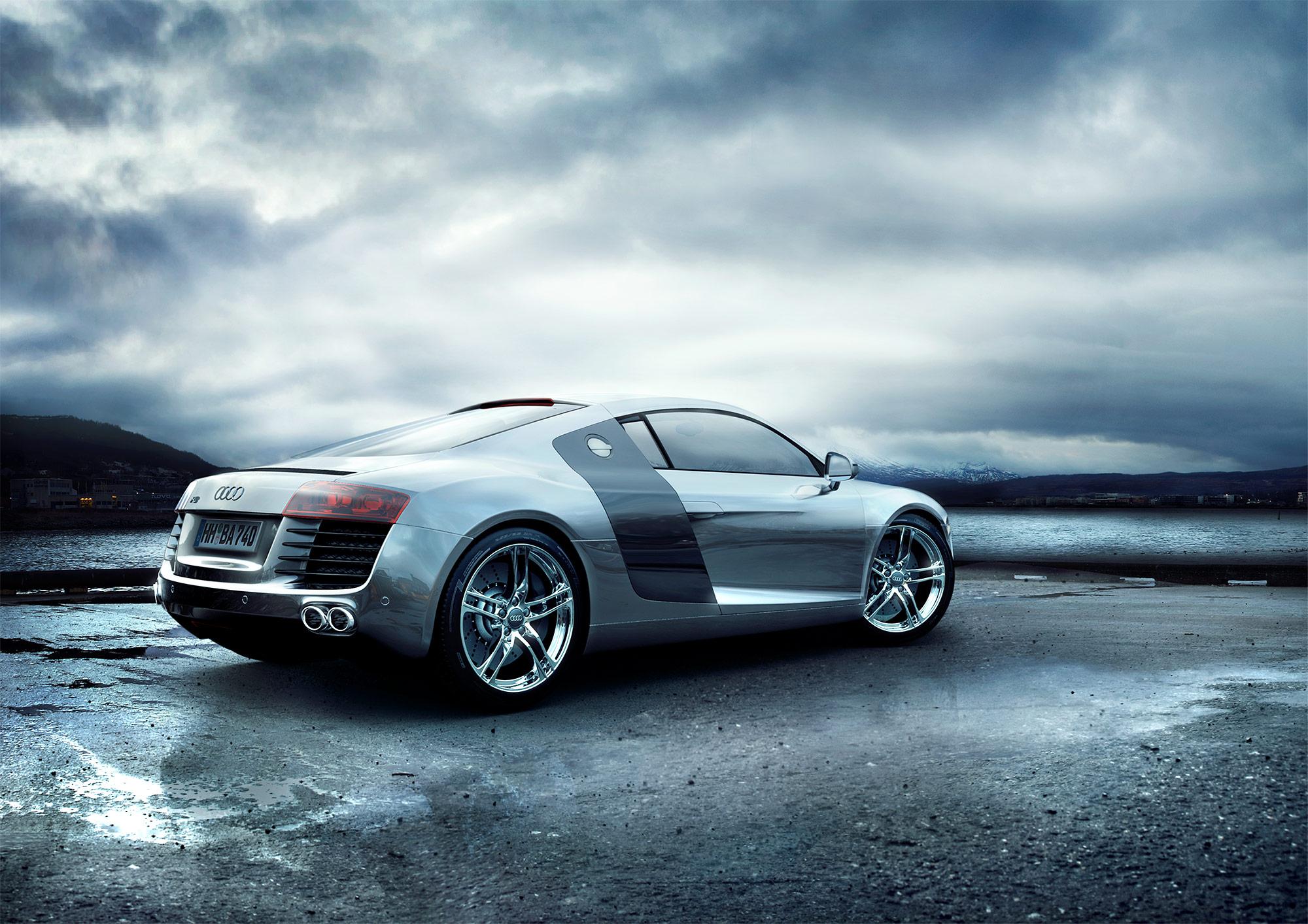 CGI Rendering 3d Audi R8 Auto Landschaft Regen HDRI Backplate Sphere Idris Kolodziej