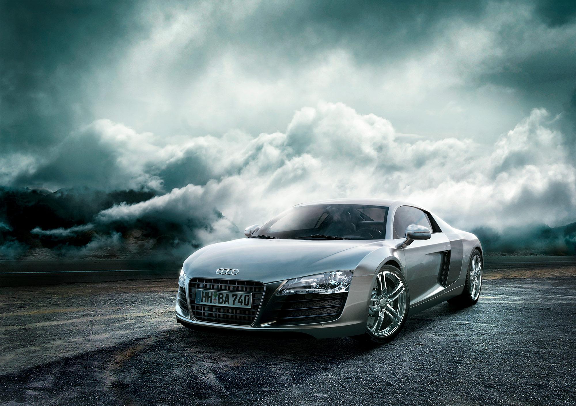 CGI Rendering 3d Audi R8 Auto Landschaft Wolken HDRI Backplate Sphere Idris Kolodziej
