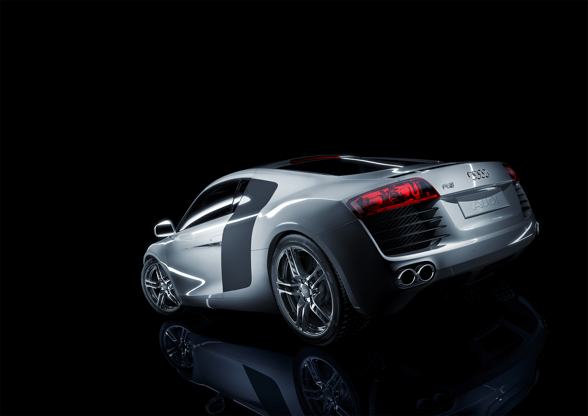 CGI Rendering 3d Audi R8 Auto Studio Neon Strip HDRI Backplate Sphere Idris Kolodziej