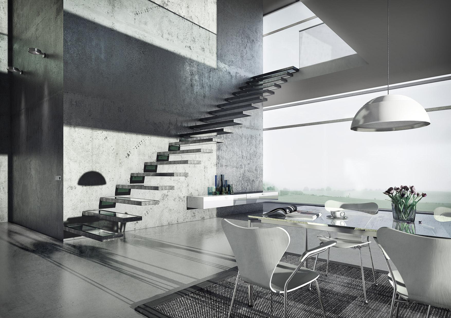 CGI Rendering 3d Beton Concrete Apartment Interior Wohnraum Idris Kolodziej