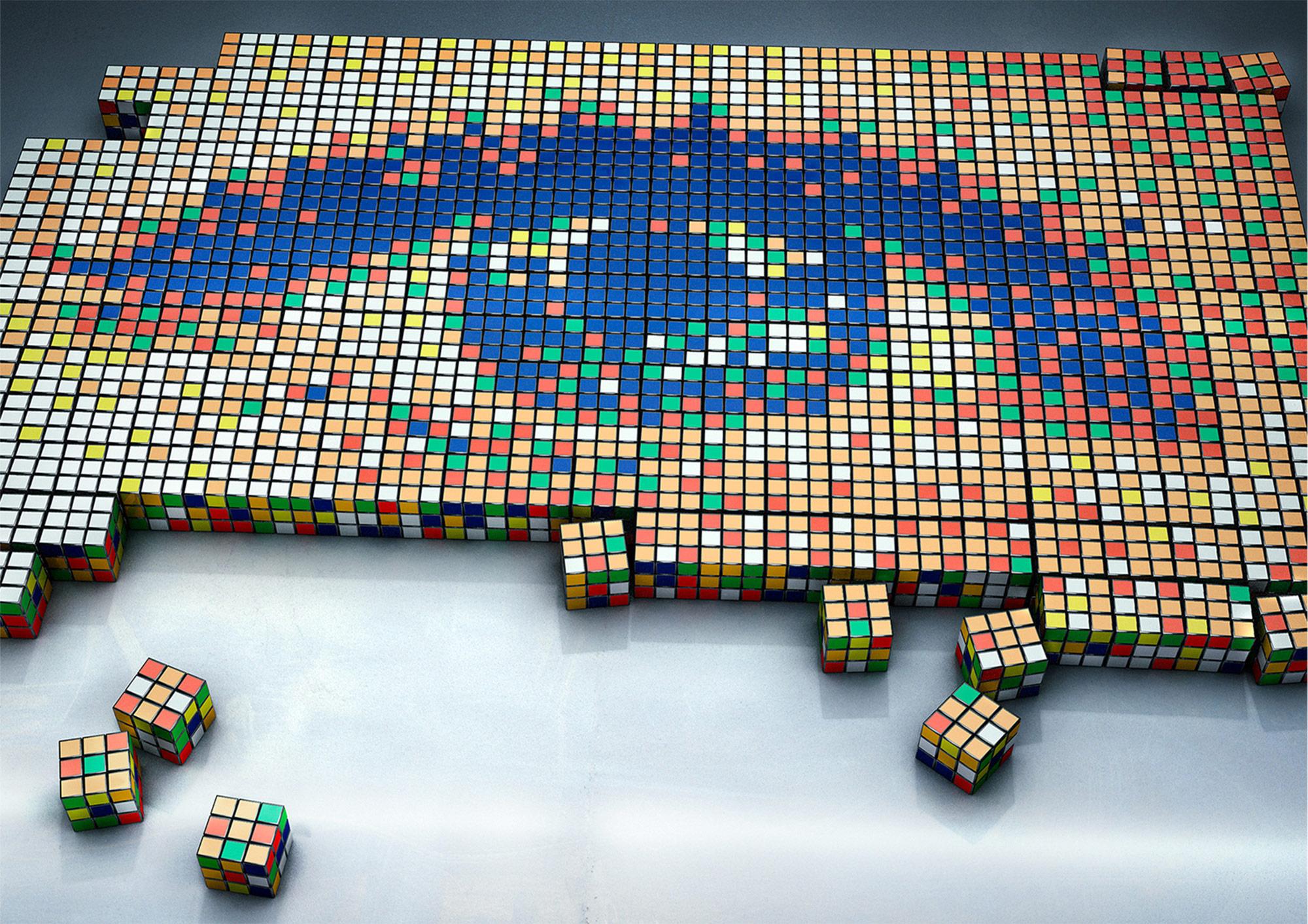 CGI Rendering 3d Rubik Cube Auge Puzzle Illusion Idris Kolodziej