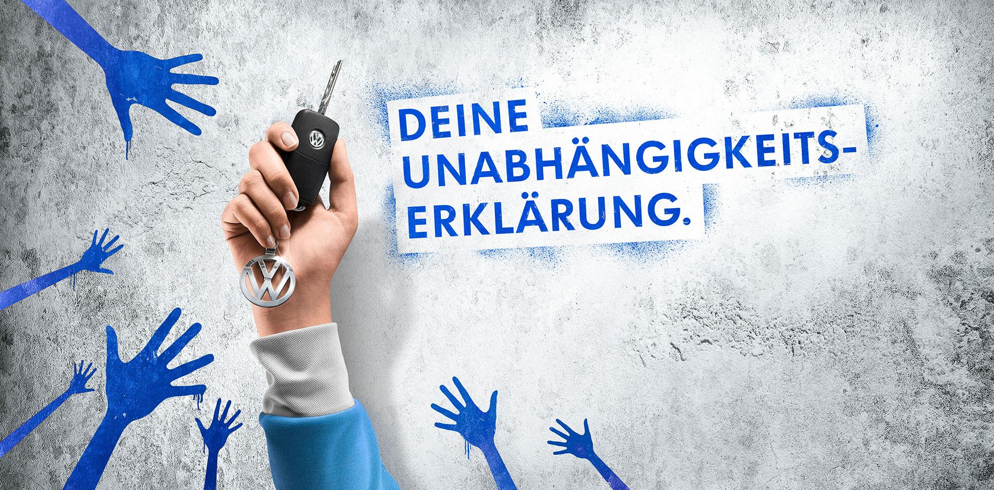 CGI Rendering 3d VW Volkswagen Junge Fahrer Beton Hand Autoschlüssel Unabhängigkeitserklärung Idris Kolodziej