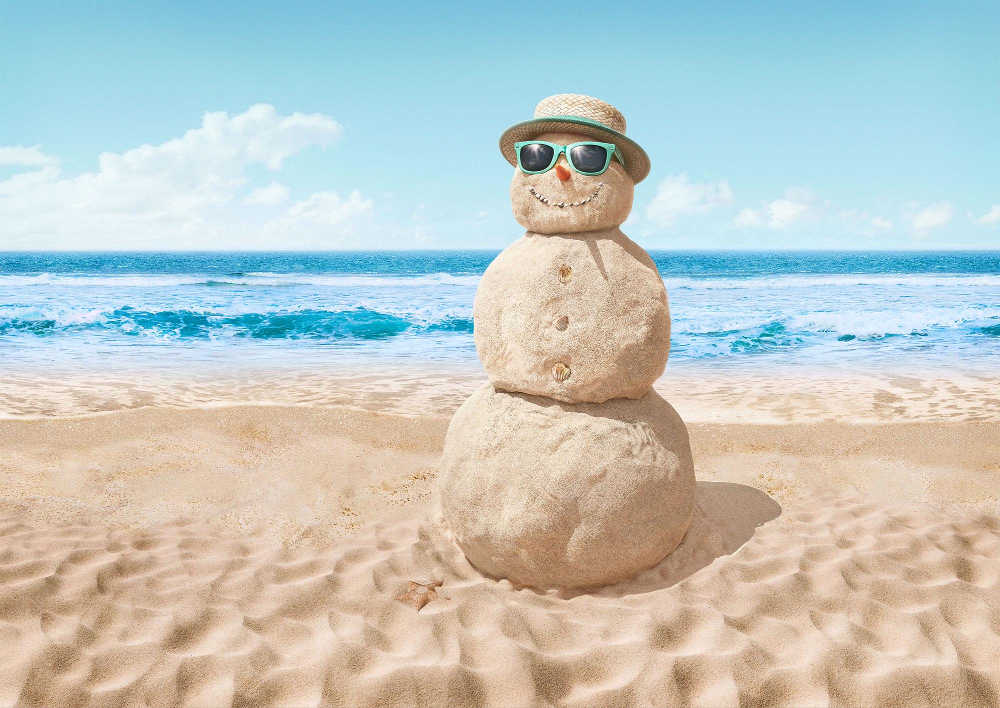CGI Rendering 3d TUI Schneemann Sandmann Sommer im Winter Strand Sand Meer Tropen Urlaub Idris Kolodziej