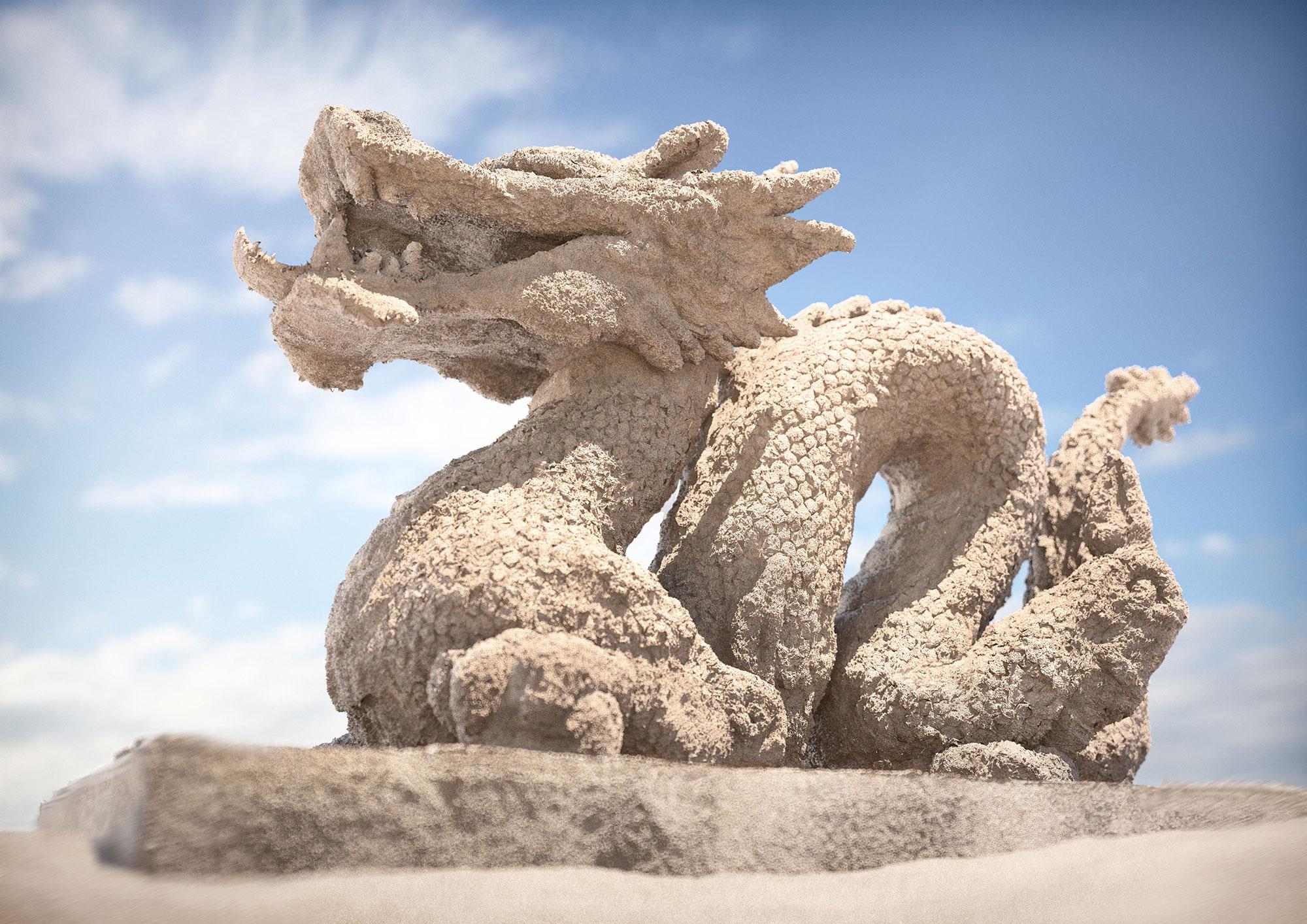 CGI Rendering 3d Textur Studie Sand Drache Idris Kolodziej
