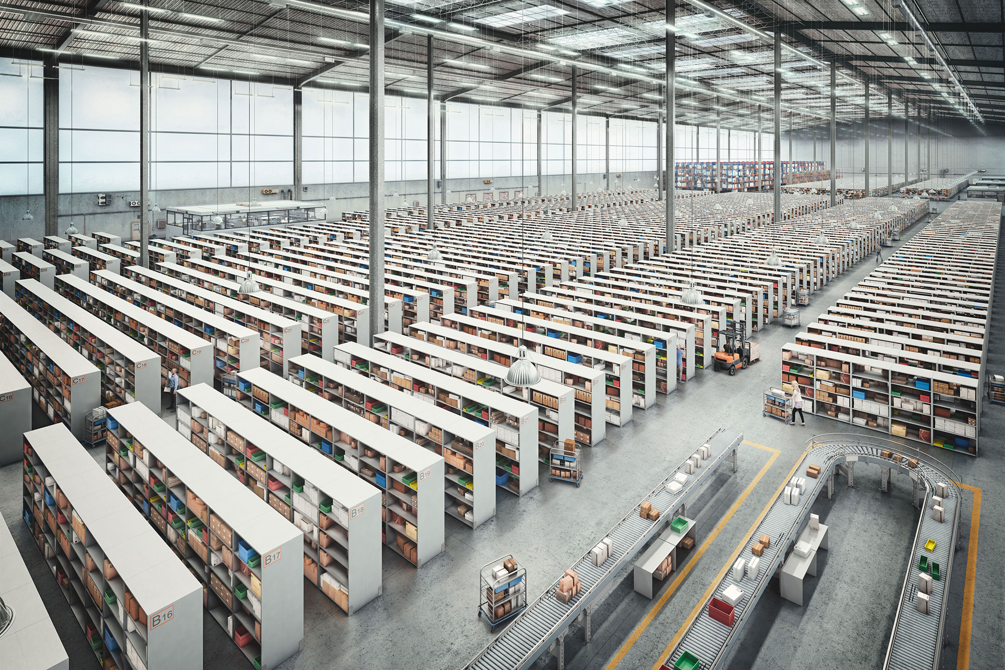 CGI Rendering 3d T-Systems Halle Lager Regale Versand Interior Idris Kolodziej