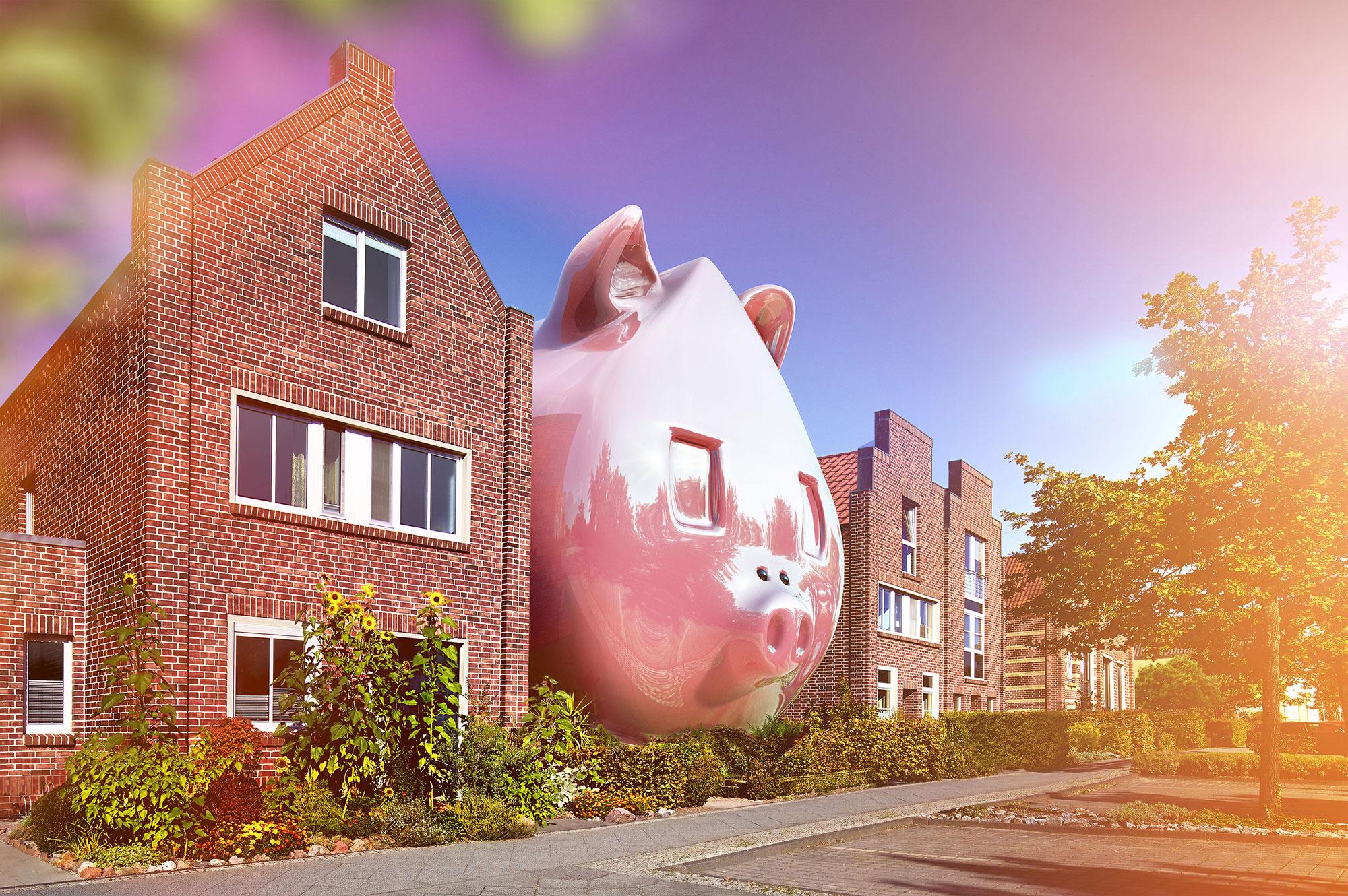 CGI Rendering 3d PS-Sparen Sparschwein Haus Backstein HDRI Backplate Sphere Idris Kolodziej