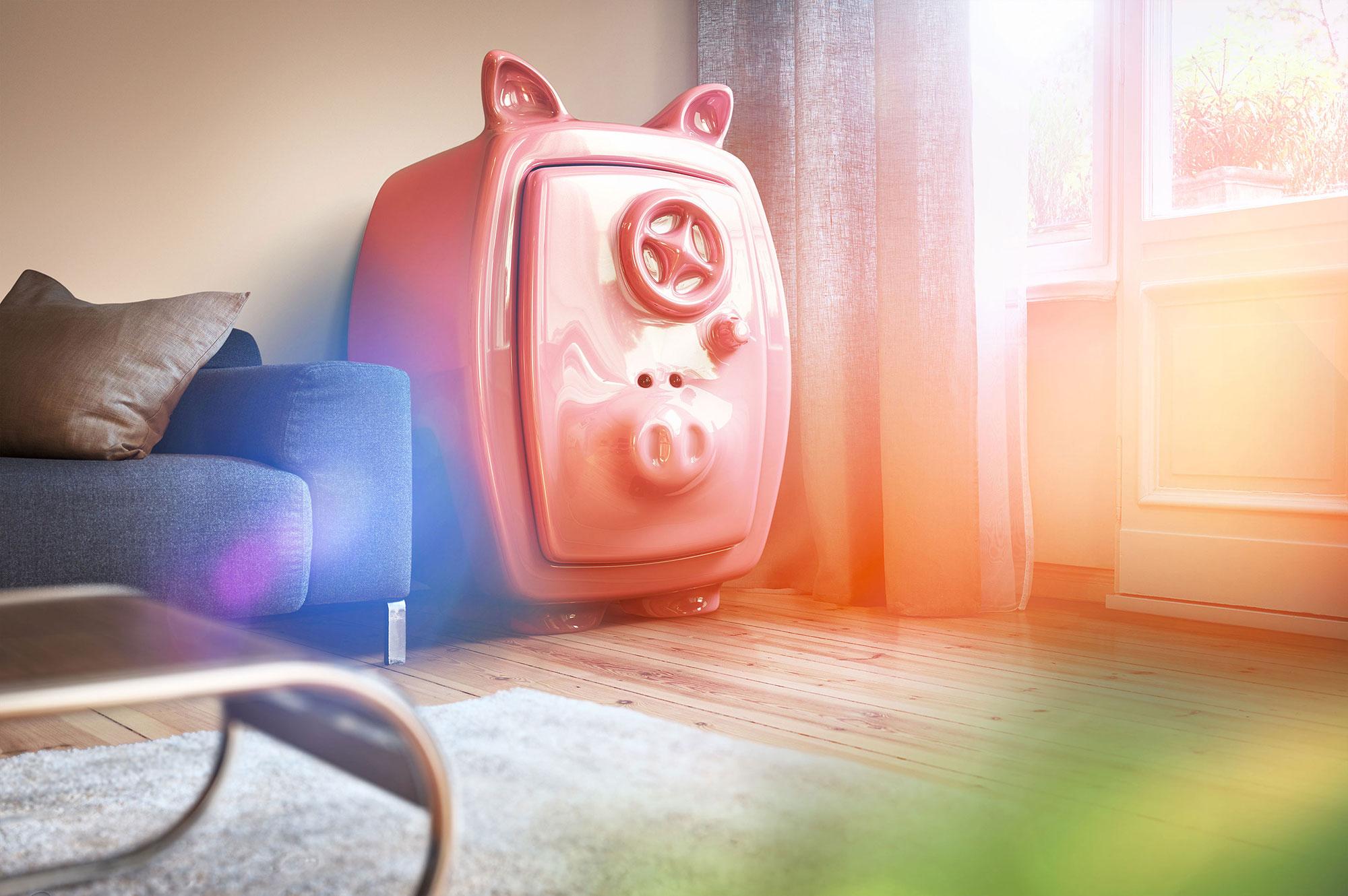 CGI Rendering 3d PS-Sparen Sparschwein Tresor Wohnzimmer HDRI Backplate Sphere Idris Kolodziej