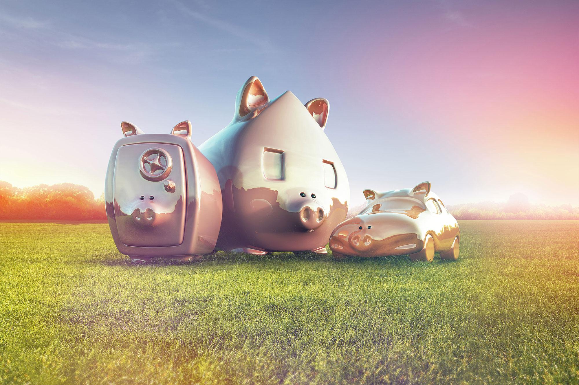 CGI Rendering 3d PS-Sparen Sparschwein Tresor Auto Haus Wiese HDRI Backplate Sphere Idris Kolodziej