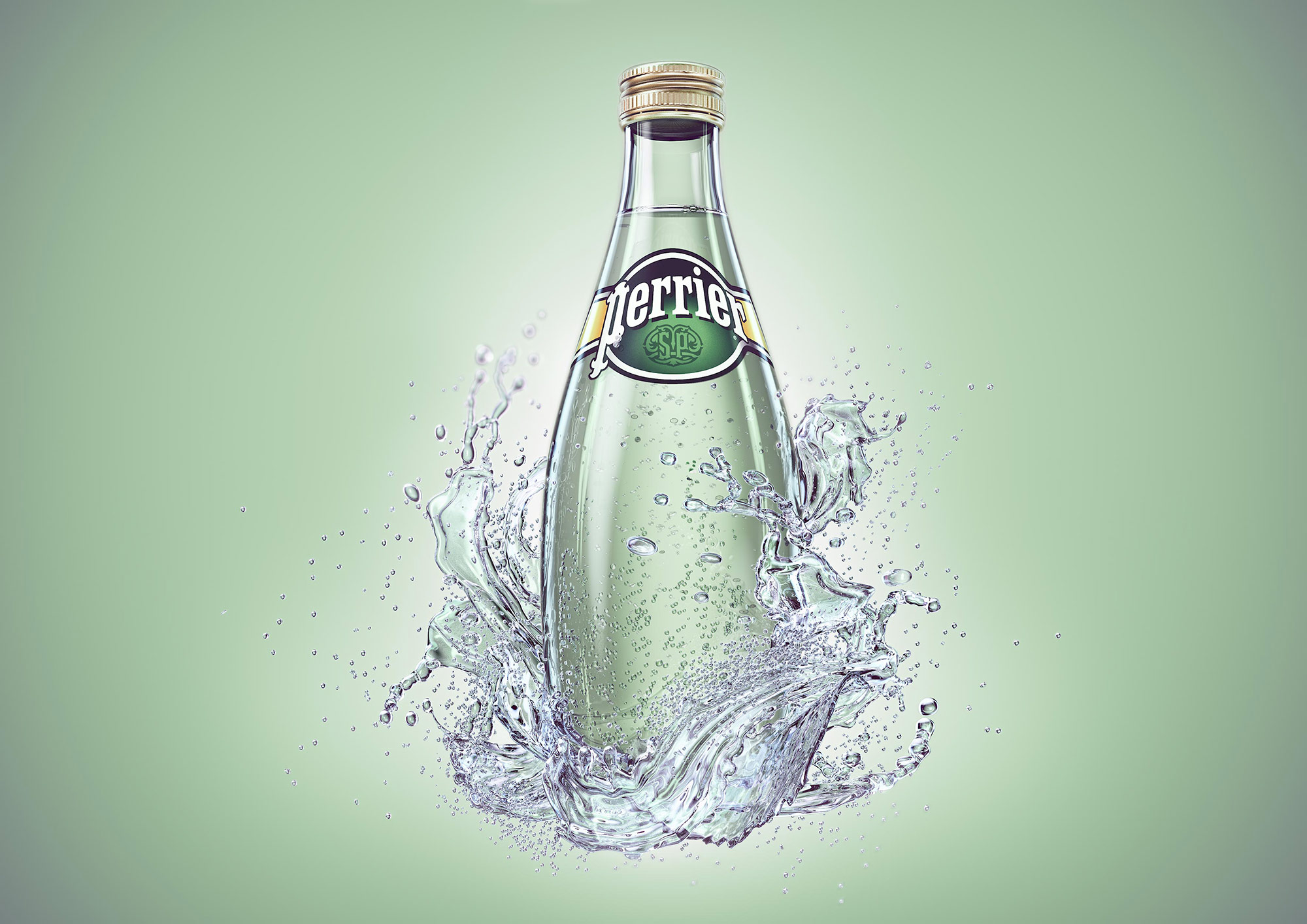 CGI Rendering 3d Perrier Flasche Liquid Splash Rendering Idris Kolodziej