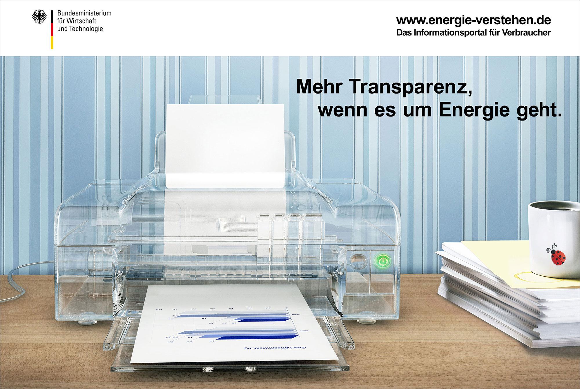 Advertising CGI Rendering 3d BMWI Energie transparent Transparenz Energie Drucker Kaffeetasse Retro Tapete Idris Kolodziej