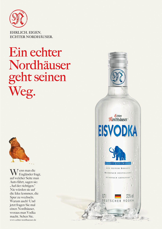 Advertising CGI Rendering 3d Echter Nordhäuser CGI Eisvodka Eiswürfel Betauung Flasche Liquid Getränke Alkohol Idris Kolodziej