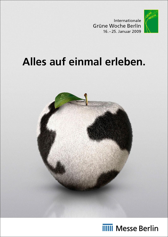 Advertising CGI Rendering 3d Internationale Grüne Woche Messe Apfel Kuhfell Erleben Idris Kolodziej