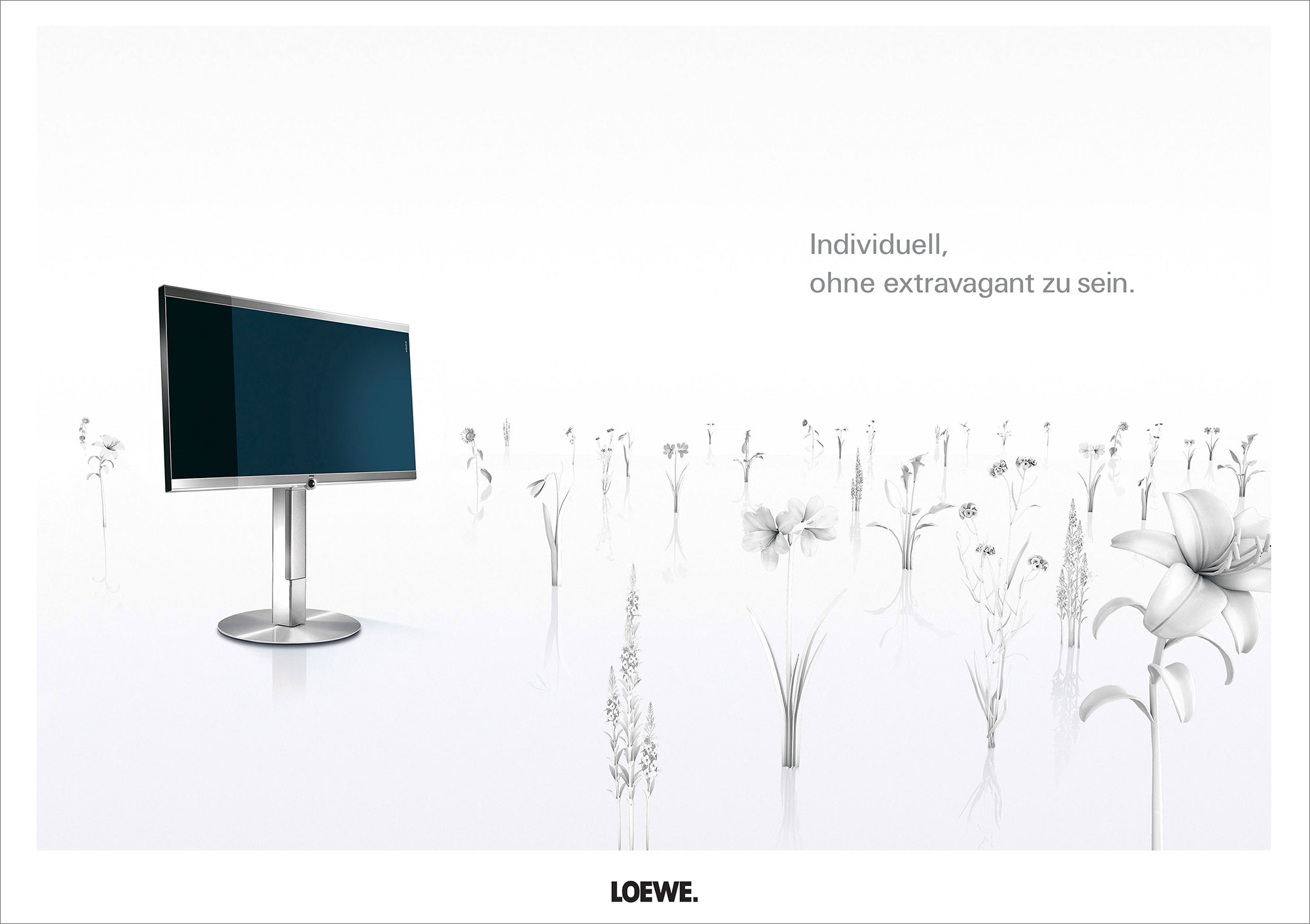 Advertising CGI Rendering 3d Loewe TV Highkey Weiss Blumen individuell extravagant Idris Kolodziej