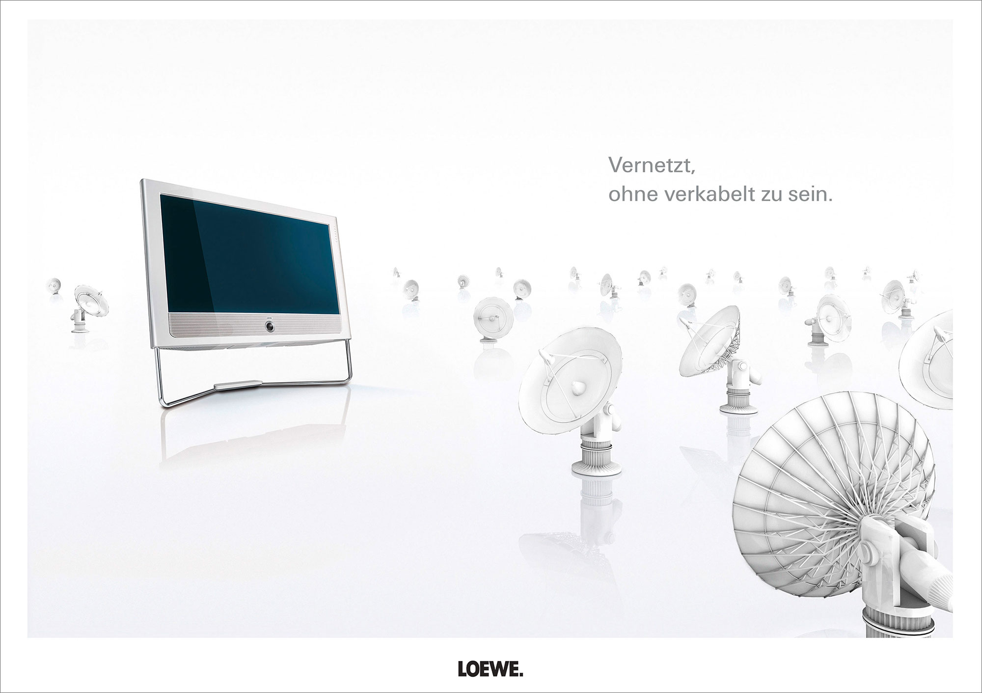 Advertising CGI Rendering 3d Loewe TV Highkey Weiss Radioteleskope vernetzt verkabelt Idris Kolodziej
