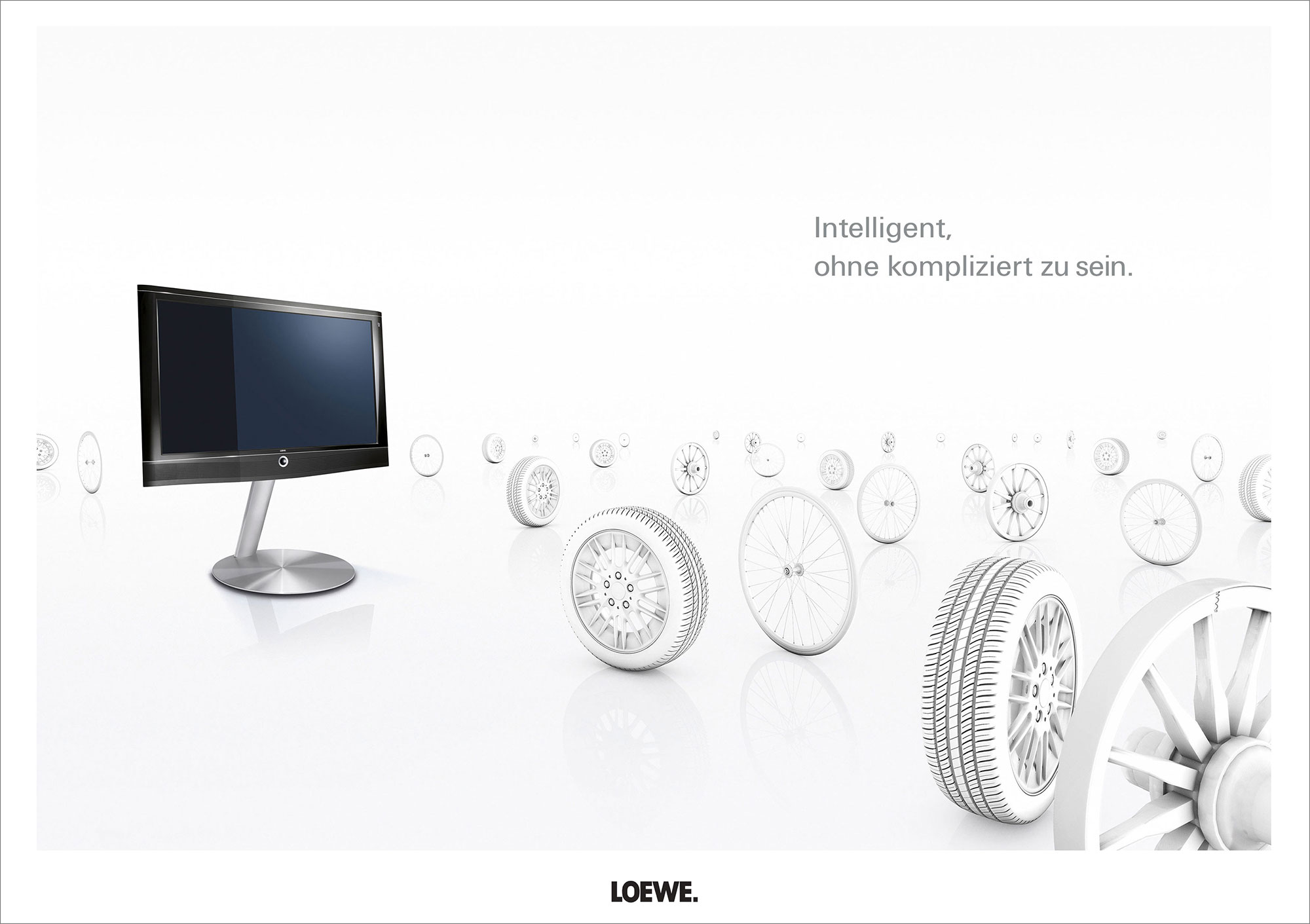 Advertising CGI Rendering 3d Loewe TV Highkey Weiss Räder individuell kompliziert Idris Kolodziej