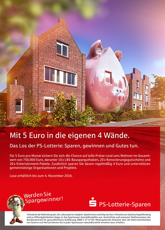 Advertising CGI Rendering 3d PS-Sparen Los Lotterie Sparschwein Gewinner Haus Backstein HDRI Backplate Sphere Idris Kolodziej