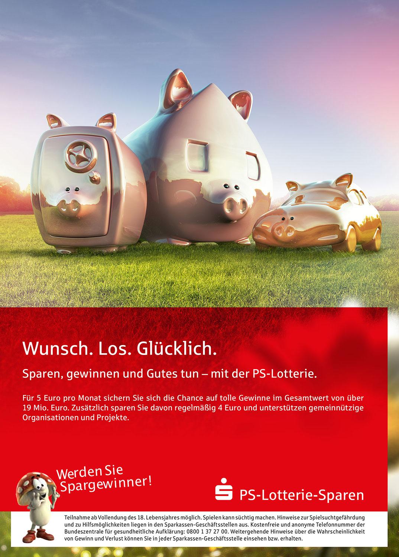 Advertising CGI Rendering 3d PS-Sparen Los Lotterie Sparschwein Gewinner Tresor Auto Haus Wiese HDRI Backplate Sphere Idris Kolodziej