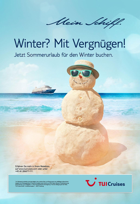 Advertising CGI Rendering 3d TUI Schneemann Sandmann Sommer im Winter Strand Sand Meer Tropen Urlaub Idris Kolodziej