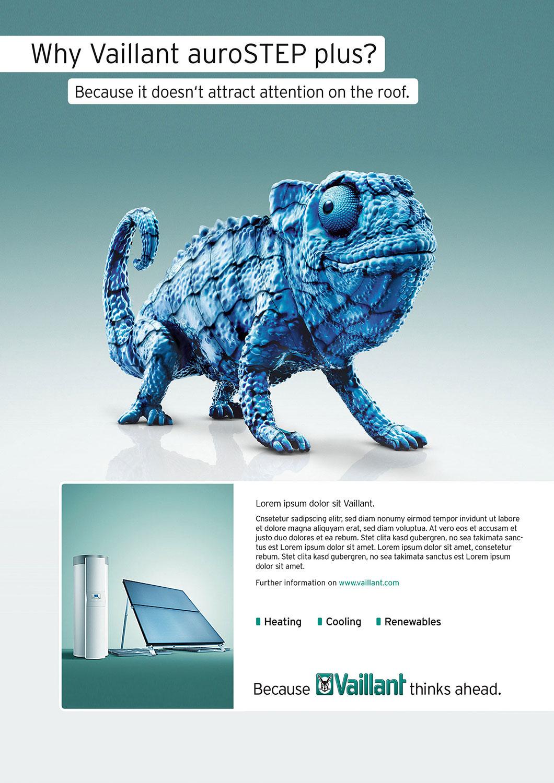 Advertising CGI Rendering 3d Vaillant Chamaeleon Solarzelle Rendering auroStep Idris Kolodziej