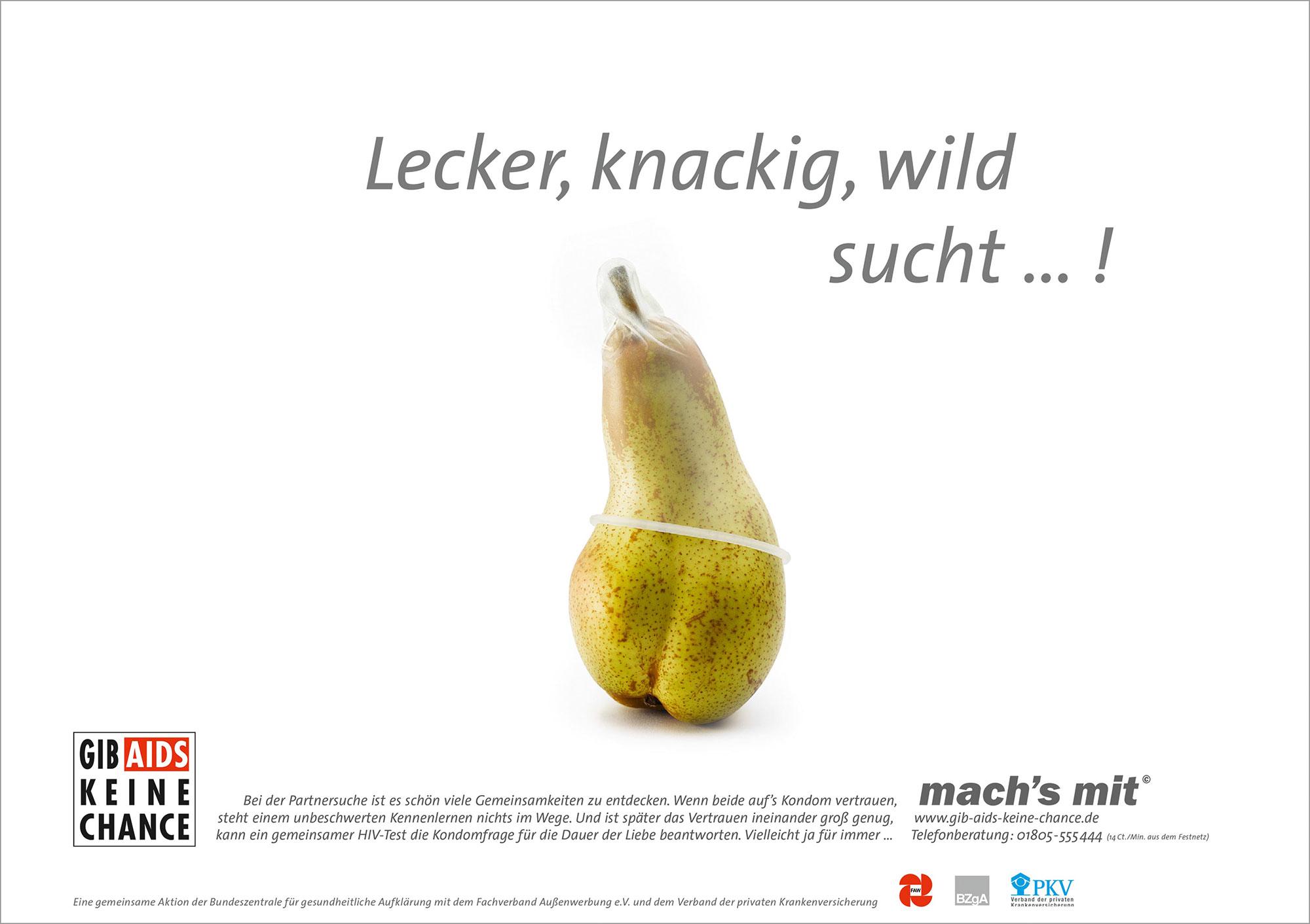 Advertising Still life Photographie Fotografie Studio BZGA mach´s mit AIDS Kampagne Birne Lecker knackig wild Kondom Idris Kolodziej